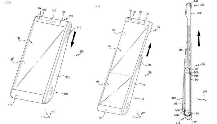 صورة براءة اختراع لسامسونج لهاتف قابل للف