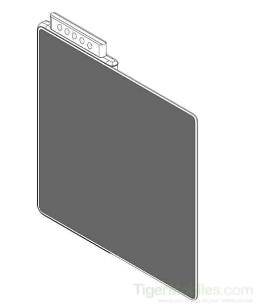صورة براءة اختراع لهاتف مطوي من شاومي بكاميرا منبثقة خماسية العدسة