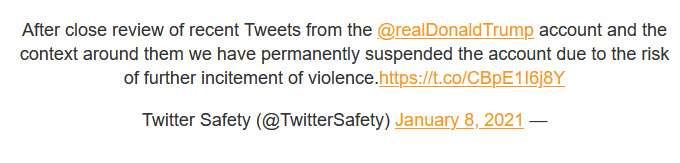 حظر ترامب نهائيًا من النشر على تويتر