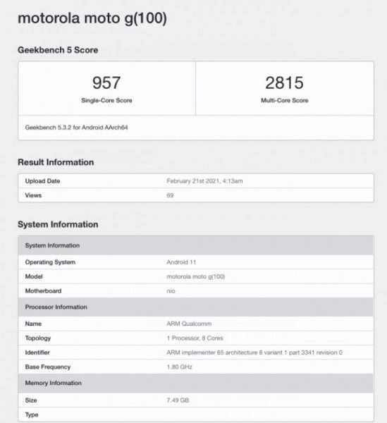 قائمة موتورولا موتو جي 100 على منصة Geekbench