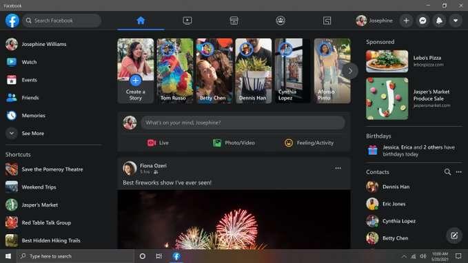 تطبيق فيسبوك لنظام التشغيل ويندوز 10