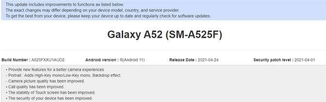 سامسونج جالكسي اى 52 - Galaxy A52 يتلقى تحديثًا يجلب ميزات كاميرا سلسلة Galaxy S21