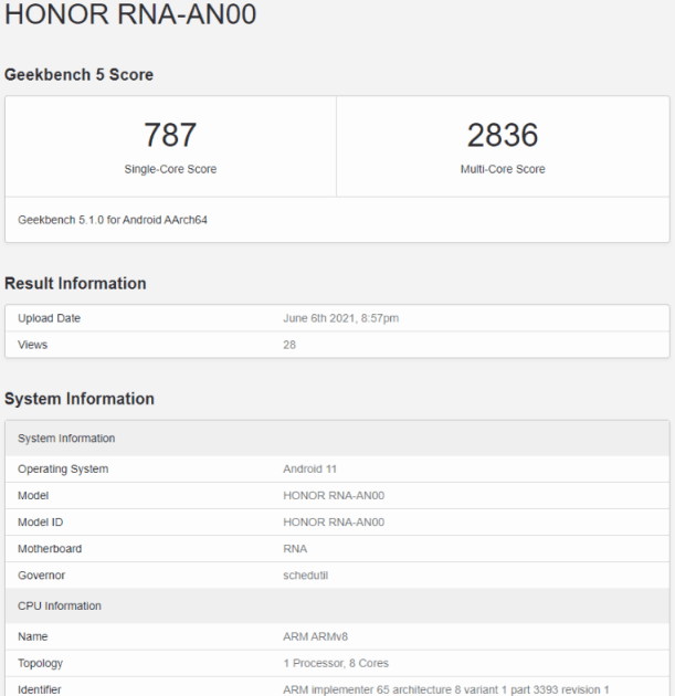 مواصفات هونر 50 برو - Honor 50 Pro تظهر على منصة GeekBench