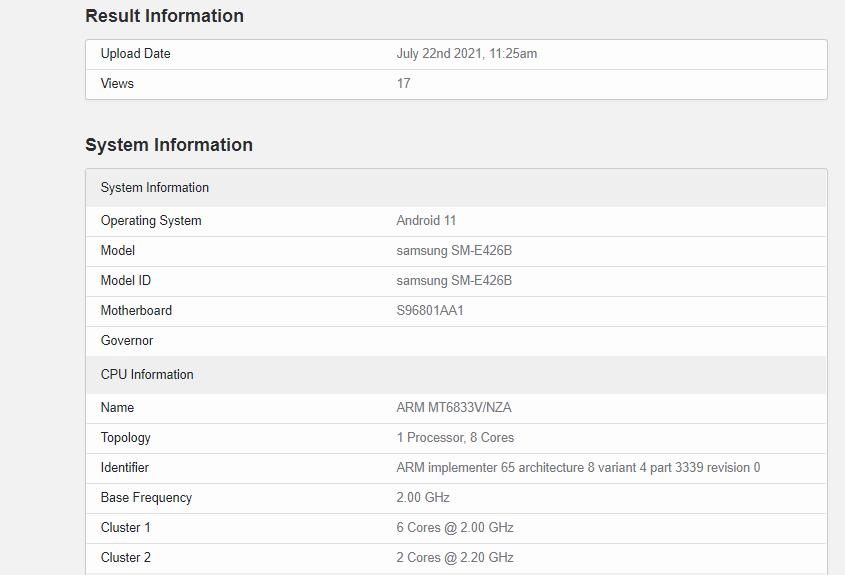 مواصفات جالكسي اف 42 5 جي - Galaxy F42 5G تظهر على منصة Geekbench